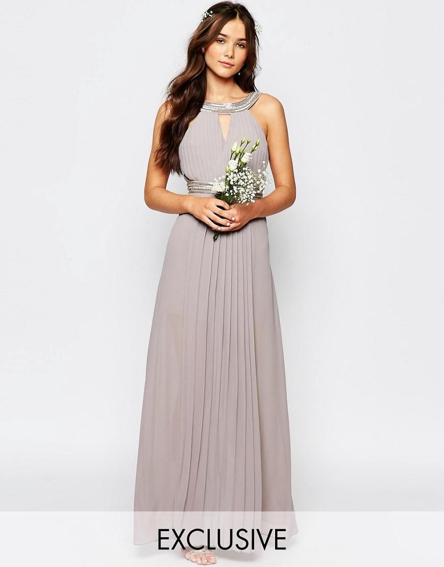 TFNC WEDDING Embellished Pleated Maxi Dress | Wedding, Bridal ...