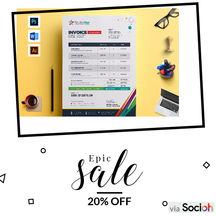 Don T Miss Out On Contestdesign S Big Sale Get 20 Offselect Products Till On 25 Feb 2020 Buy Before S Photography Invoice Memo Template Invoice Template