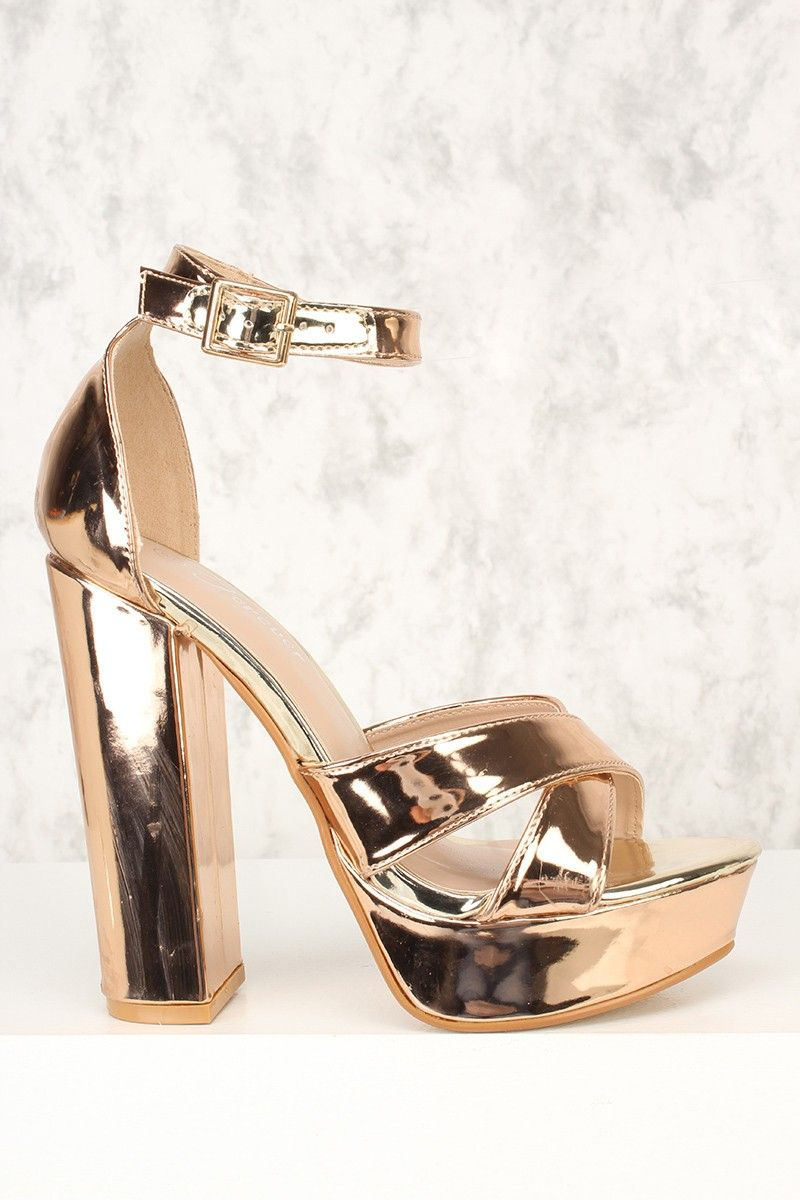 f25927cdf2d Sexy Rose Gold Criss Cross Open Toe Platform Pump Chunky High Metallic Faux  Leather