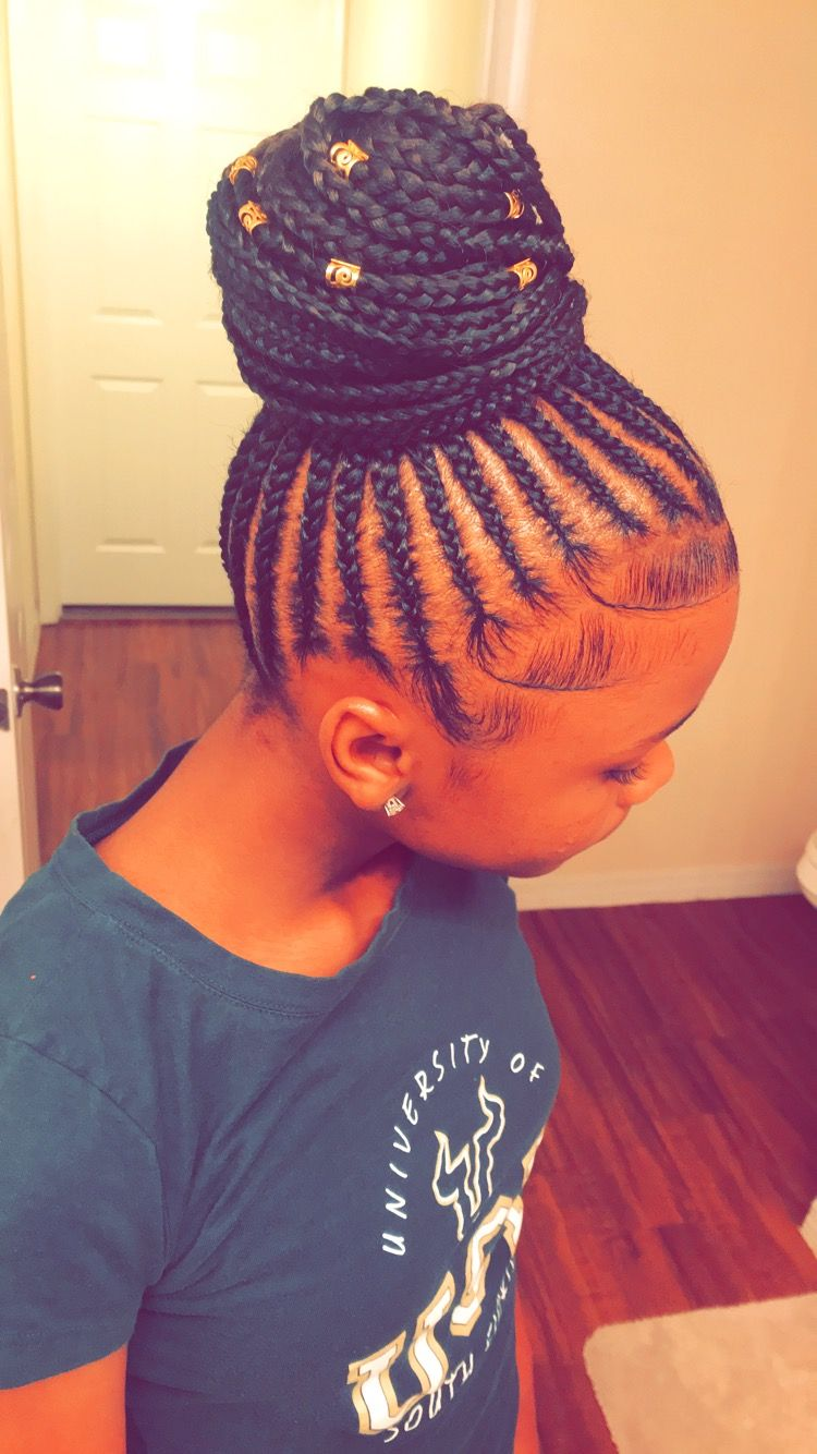 Small Feed In Braids Into A Ponytail Bun That I Did On My Little Sister Feed In Braids Ponytail Hair Styles Kids Braided Hairstyles