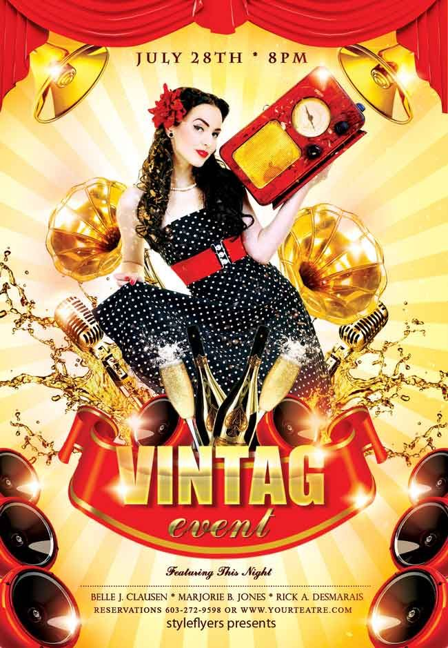 Vintage Event Flyer Psd Free Pin Up Pinterest Psd Flyer