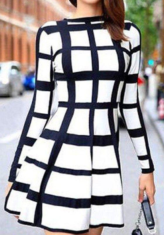 White Striped Print Long Sleeve Fashion Mini Dress