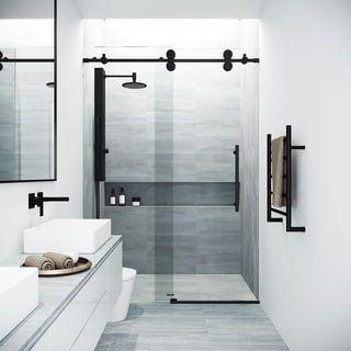 Vigo Elan Matte Black Tempered Glass 60 Inch Adjustable Frameless