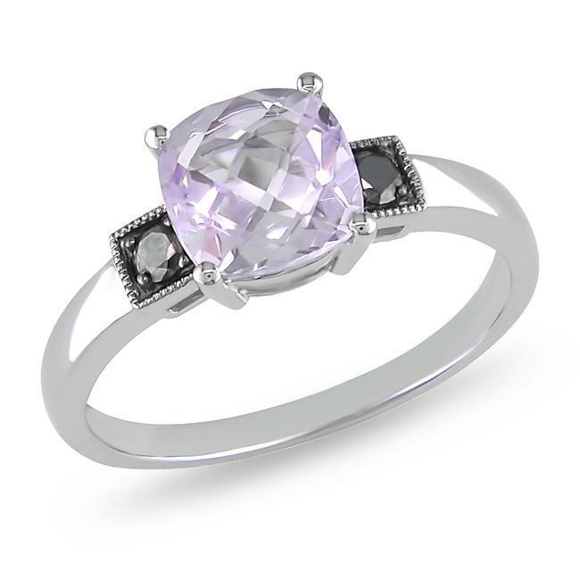 Rose de France and black diamond ring10-karat white gold engagement jewelryClick here for ring sizing guide