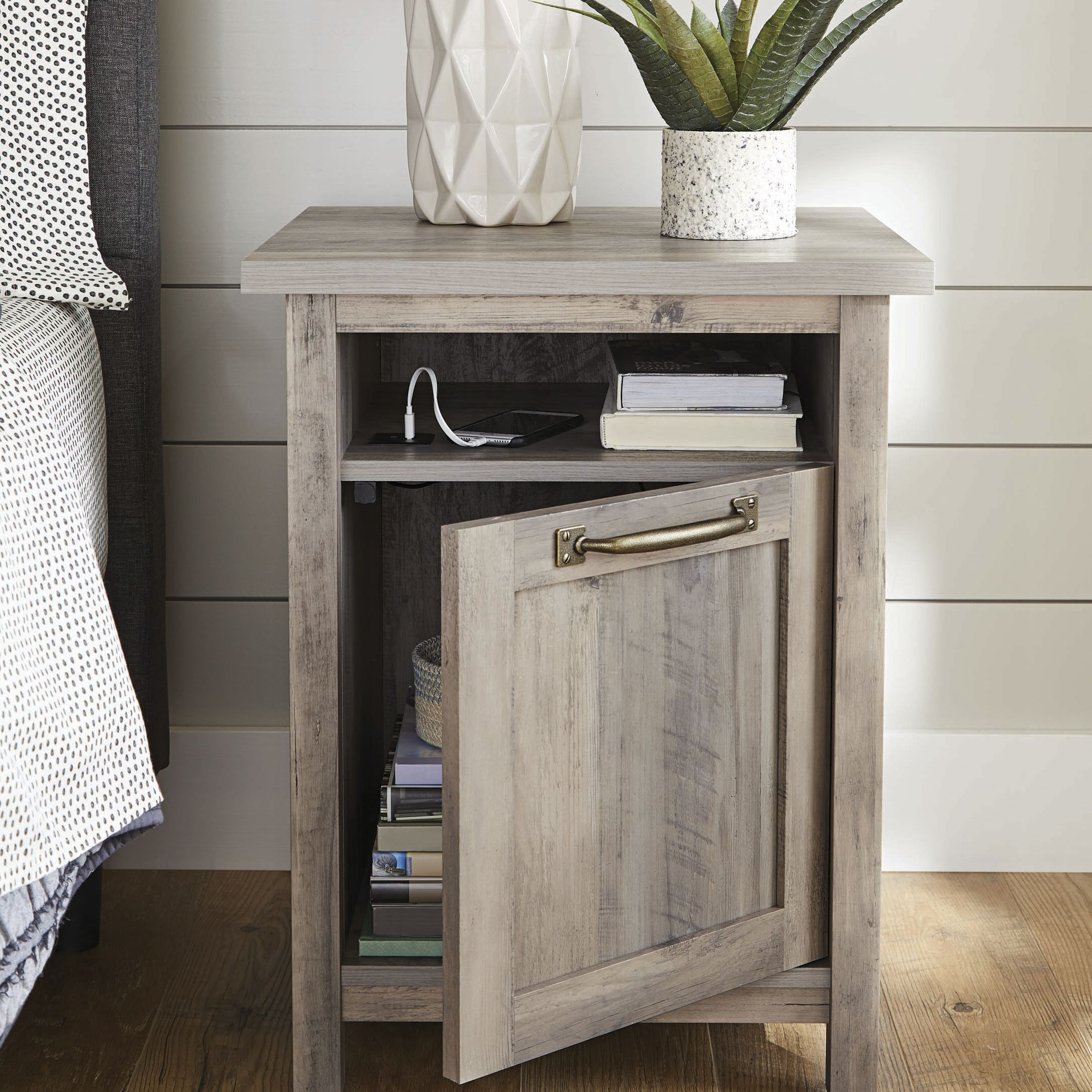 Better Homes Gardens Modern Farmhouse Nightstand With Usb Rustic Gray Finish Walmart Com Easy Home Decor Decor Home Decor