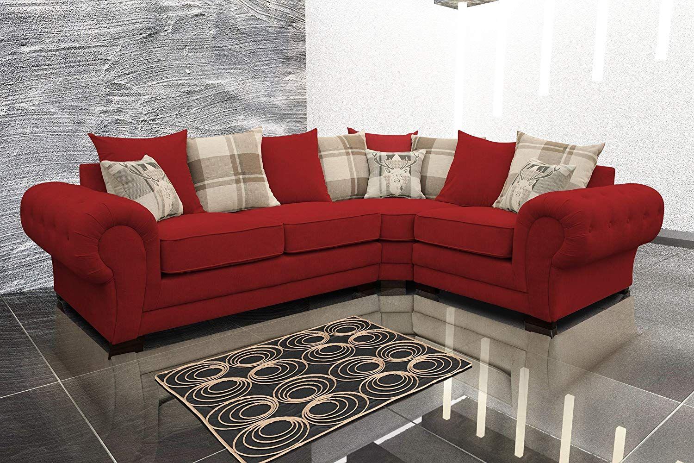 Corner Sofa Verona Fabric Left Or Right Grey Brown Cream Designer