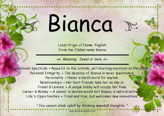 Bianca - Angies Creation | Names with meaning, Meant to be ...