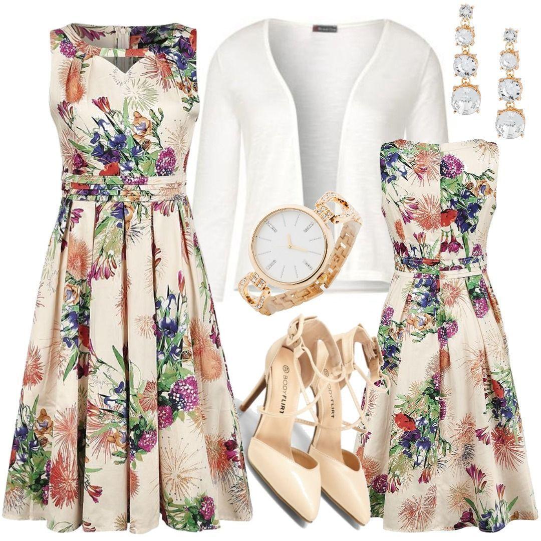 H&R London - Pleated Multi-Floral Swing Dress - Kleid knielang