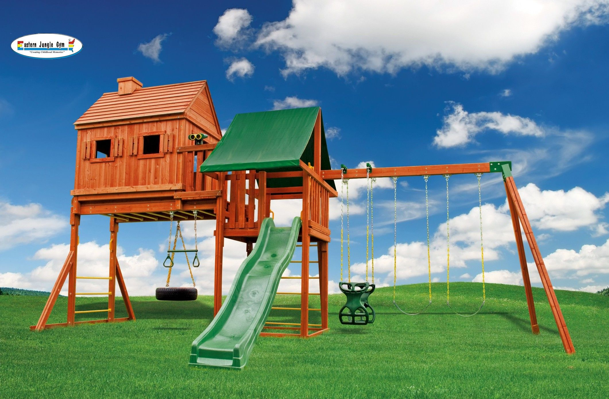 Fantasy tree house 1 swing set tree houses swings and for How to build a swing set for adults