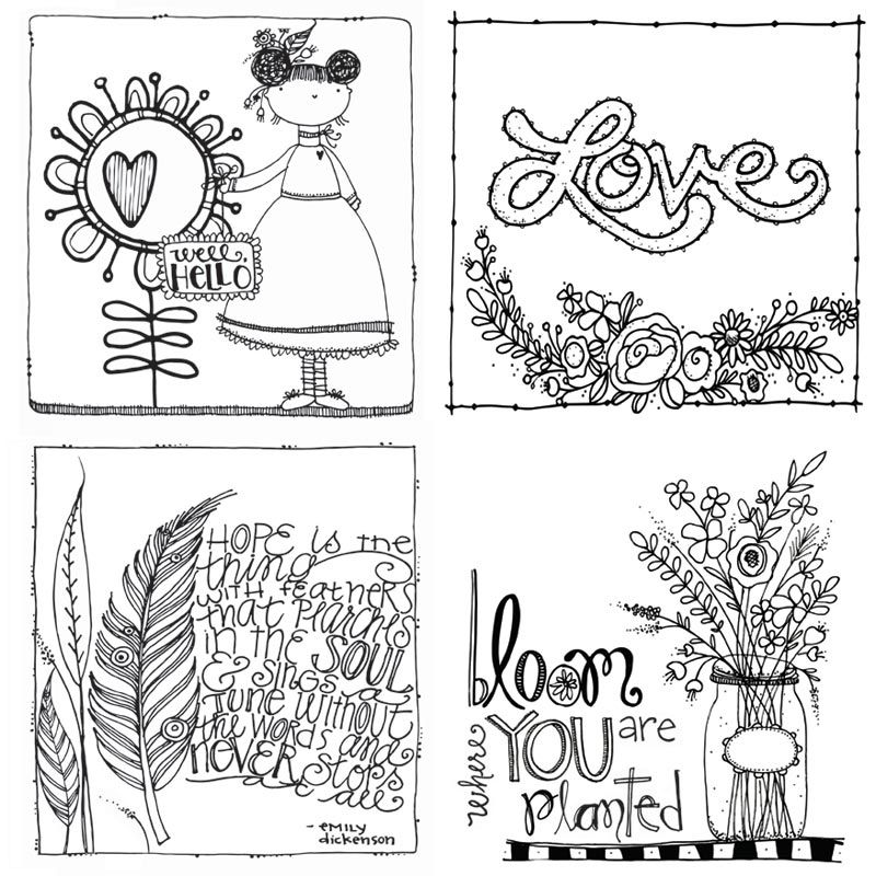 Carolee's Creations - Adornit - Art Play Paintables - 12 x 12 Paper - Bloom