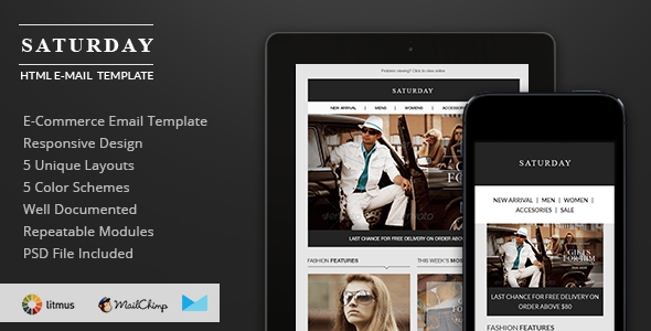 Saturday E Commerce Responsive Email Template Responsive Email