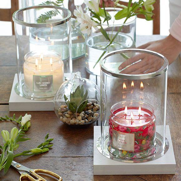 Lampe Tempete Anneaux Argentes Weihnachtsdufte Kerzen Teelichter