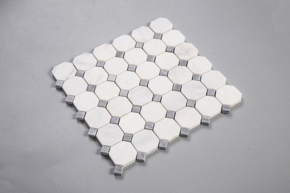 Best Carrara Carrera Marble 2 Octagon Gray Dot Mosaic Tile 400 x 300