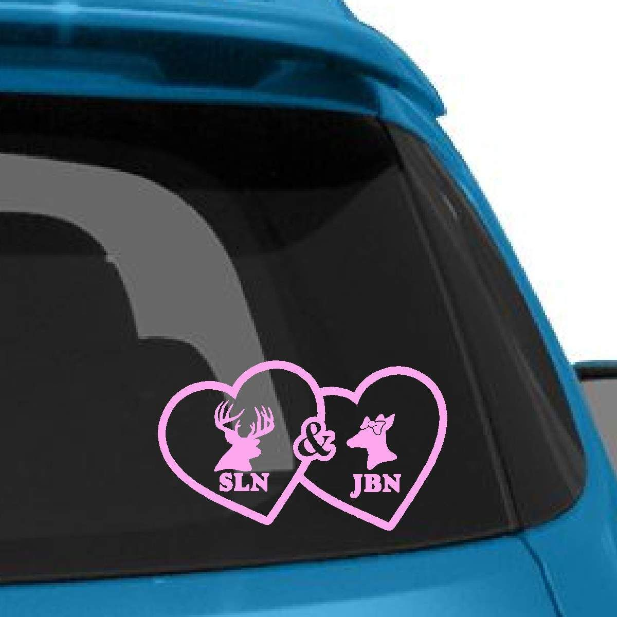 Deer Couple Heart Decal With Custom Initials Heart Decals Custom Initials Couples Decals [ 1200 x 1200 Pixel ]