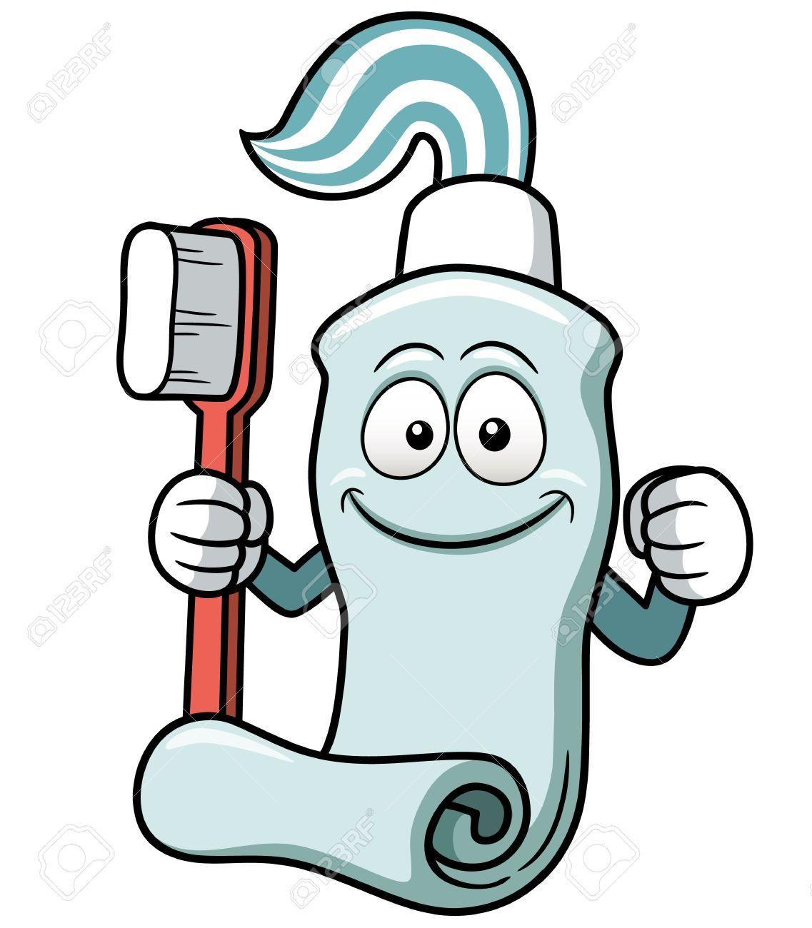 Vector Illustration Of Toothbrush And Toothpaste Cartoon Teeth Drawing Brushing Teeth Cartoon