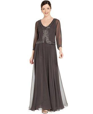 8388b383a5 J Kara Sleeveless Beaded Chiffon Gown and Jacket