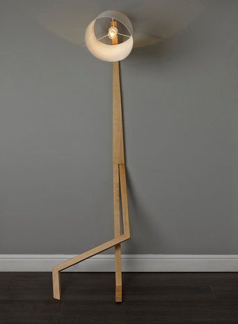 Bhs illuminate hank floor lamp wooden leaning man floor lamp
