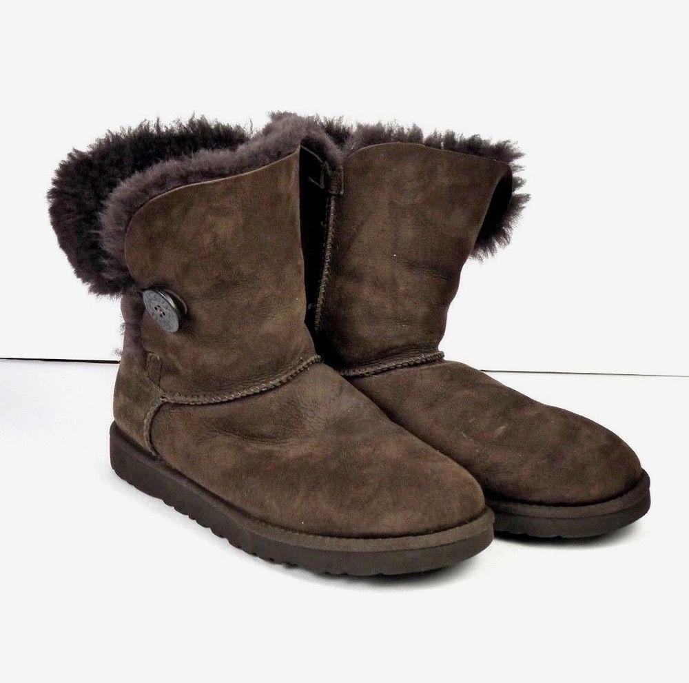 e498fc34060 UGG Australia Bailey Button Sheepskin Suede Boot Brown S/N 5803 ...
