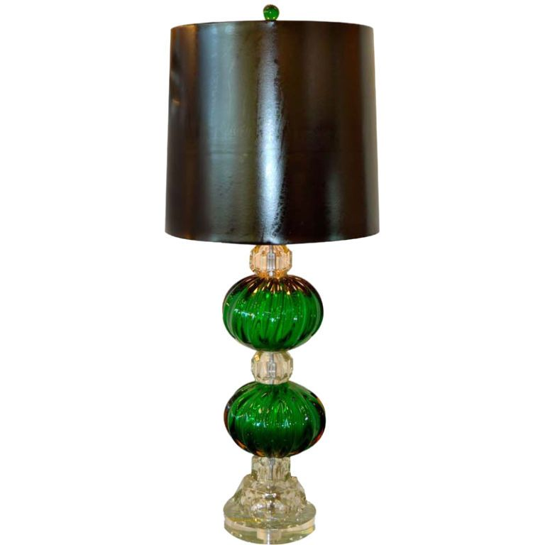 1940 S Seguso Emerald Green Murano Glass Lamp Glass Lamp Ball Lamps Green Lamp