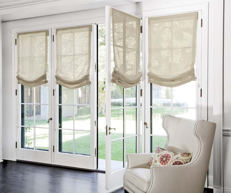 Relaxed Roman Fabric Shades In 3603 Vintage Sheer Cream Smithandnoble Fabricshad Blinds For French Doors Roman Shades French Doors Kitchen Window Treatments