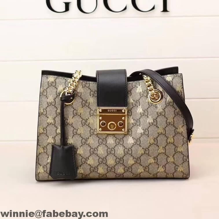 49273082ca49 Gucci Padlock Small GG Bees Shoulder Bag 498156 2018