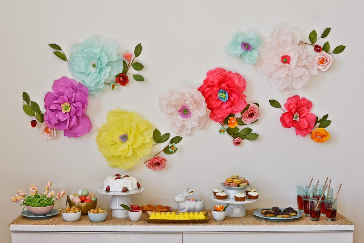 Diy easter party easter and tissue paper diy easter party table and floral wall swellmayde tissue paper pomstissue paper flowersdiy mightylinksfo