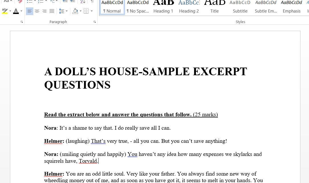 A Doll S House Excerpts And Questions With Images This Or That