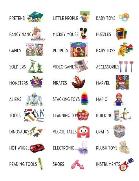 toy storage labels Creekside kids room Toy bin labels, Boys toy