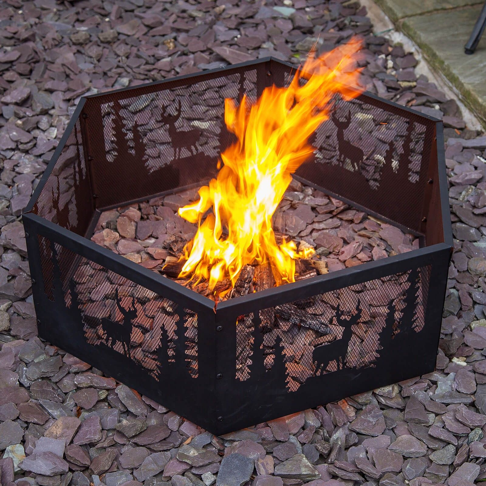 Wildlife Fire Surround Main Fire Ring Stag Design Gas Fire Pits Outdoor
