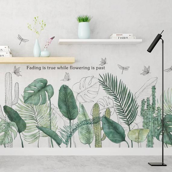 Large Vinyl Green Plant Wall Stickers Tropical Leaves Art Mural Decal