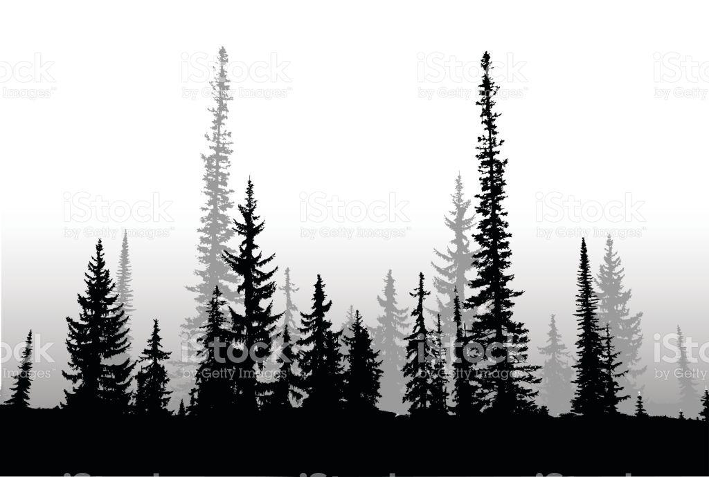 Silhouette vector illustration of a treeline make of ...