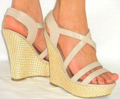 Sexy Sandals soft Strappycomfy Platform Lightweight Espadrille Wedge Beige 10