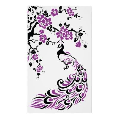 Black, purple peacock and cherry blossoms poster by prints_posters
