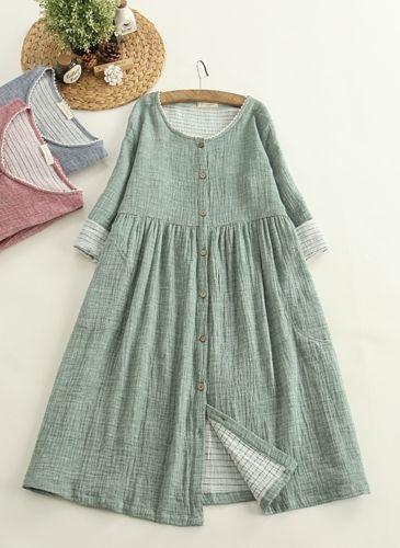 Abito a tunica cotone & lino vintage sovrapposizione antico Mori Girl boemo