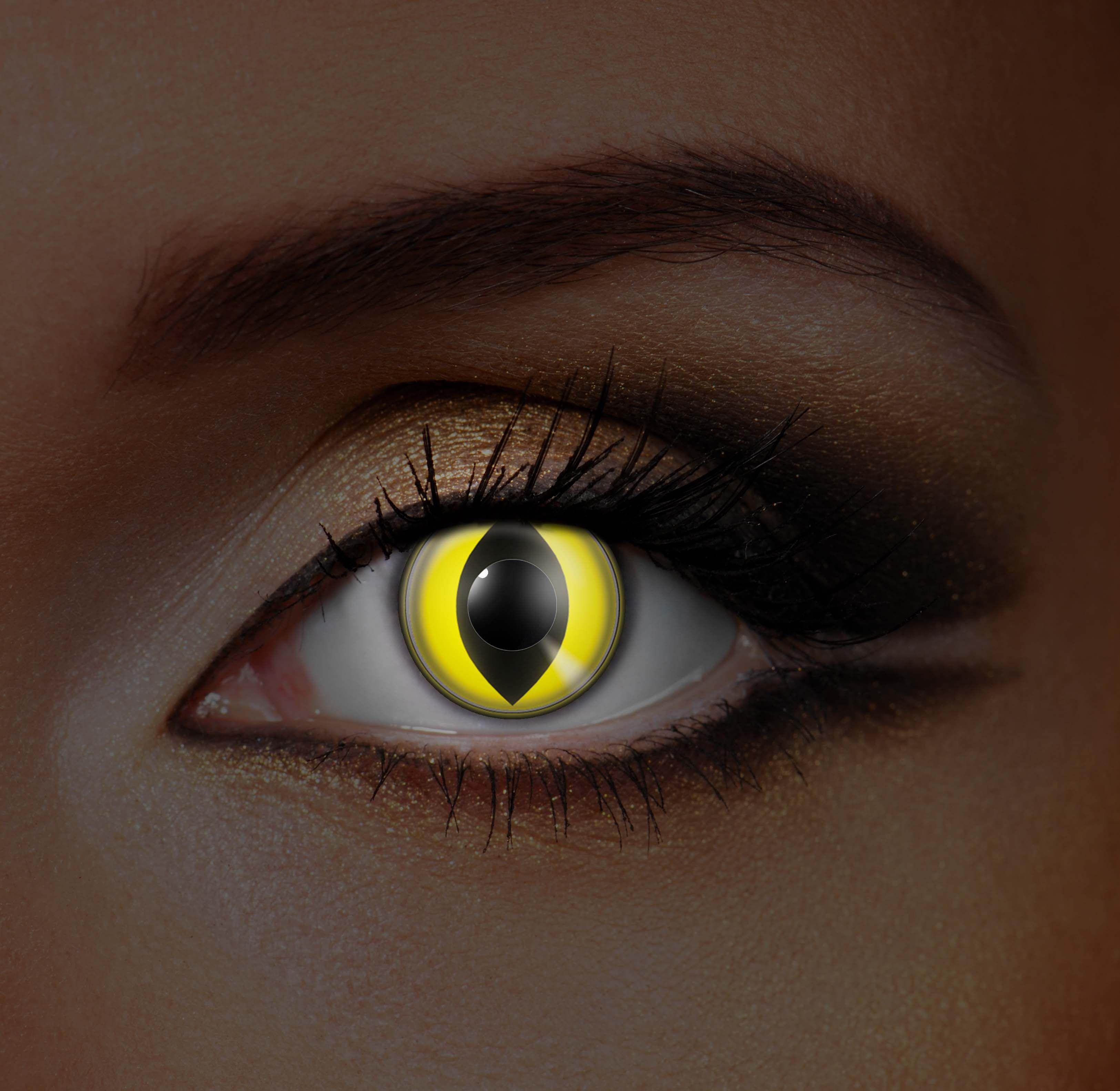 Glowing Yellow Cat Eye Contacts Uv contact lenses, Eye