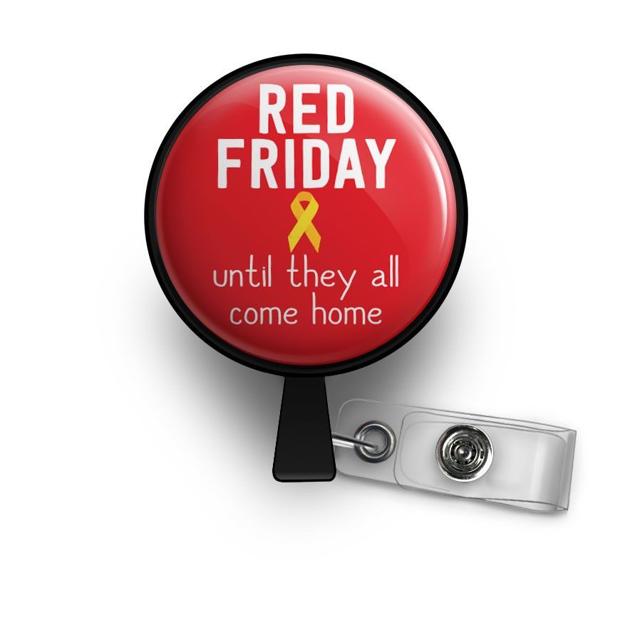 RED Friday Retractable ID Badge Reel