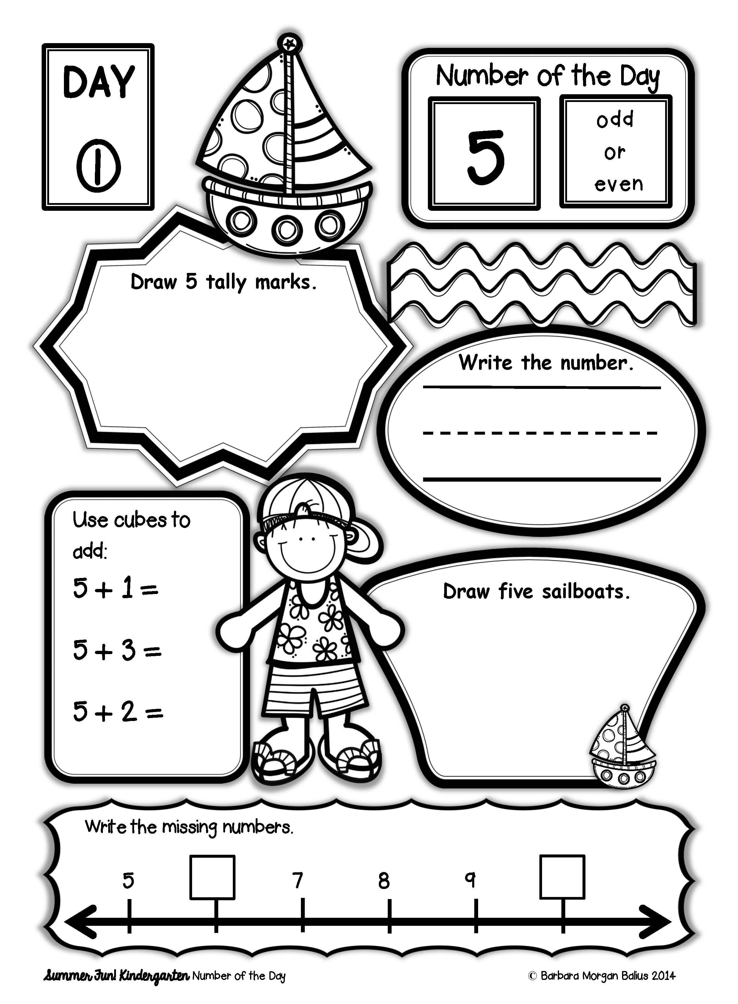 Summer Math Kindergarten Number of the Day