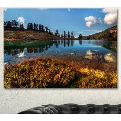 """DesignArt 'Calm Mountain Lake and Clear Sky' Photographic Print on Wrapped Canvas Size: 30"""" H x 40"""" W x 1"""" D"""