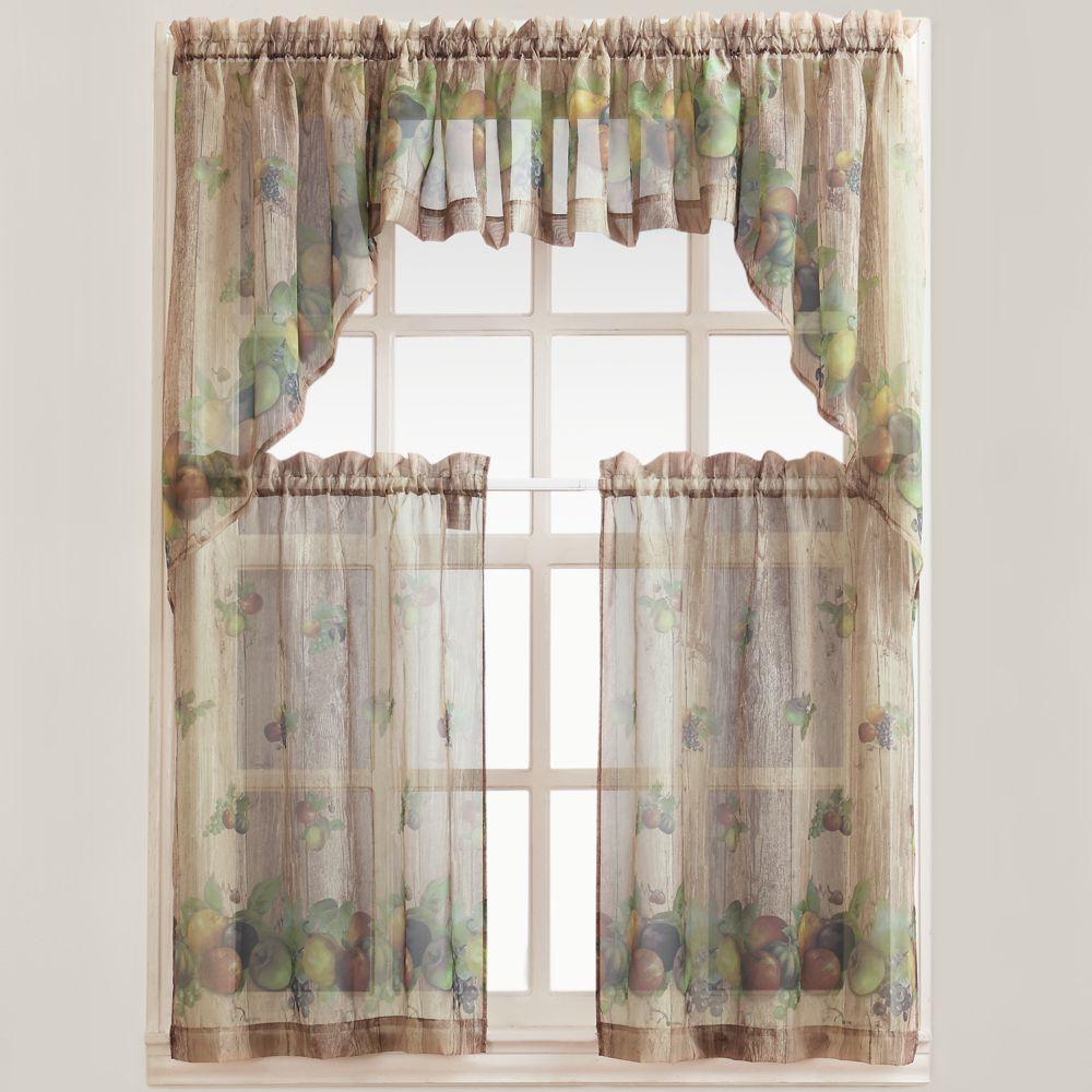 No918 Autumn Voile Swag Tier Kitchen Curtains | Kitchen ideas ...