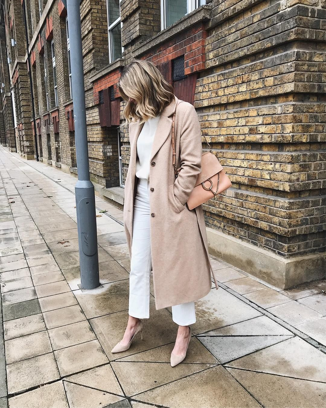 ecf2d188c7dec Emma Hill style, camel belted coat, nude Chloe Faye bag, white jeans, cream  cashmere jumper, Jimmy Choo beige suede Romy court shoes, chic winter outfit