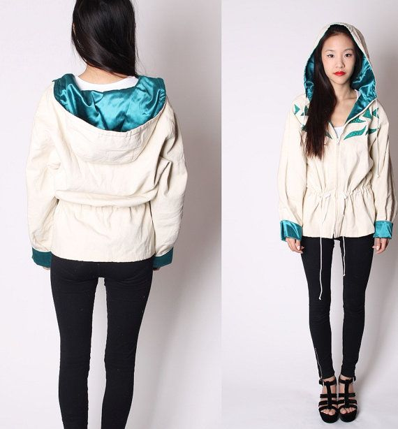 Vintage Ivory Linen and Emerald Green Satin Hooded by aiseirigh, $126.00