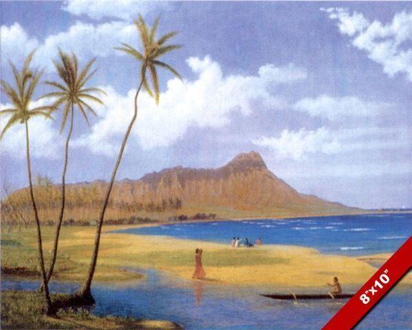 DIAMOND HEAD /& WAIKIKI HONOLULU OAHU HAWAII PAINTING ART REAL CANVAS PRINT