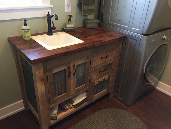 Rustic Bathroom Vanity 48 Reclaimed Barn Wood Vanity W Barn Tin 5710 Rustic Vanity Rustic Bathroom Vanities Wood Vanity