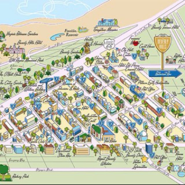 Fun map of the beverly hills california 90210 golden for Beverly hills celebrity homes map