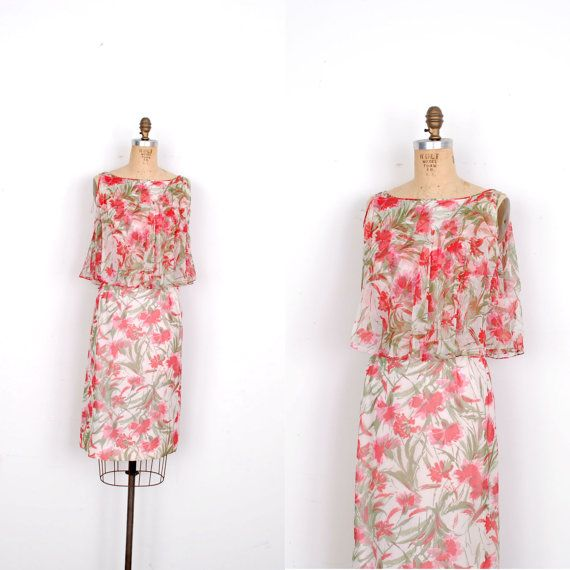 Vintage 1960s Dress / 60s Floral Print Silk By
