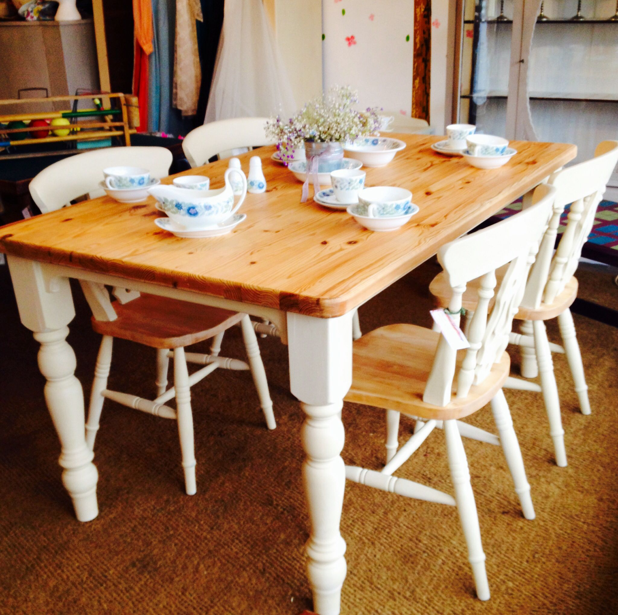 farmhouse pine table and four chairs painted in annie sloan. | home