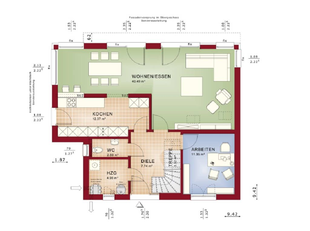 Bauhaus Villa Grundriss EG   Haus Evolution 143 V10 Bien Zenker   Modernes  Designhaus Bauen Flachdach Offene Küche Terrasse   HausbauDirekt.de