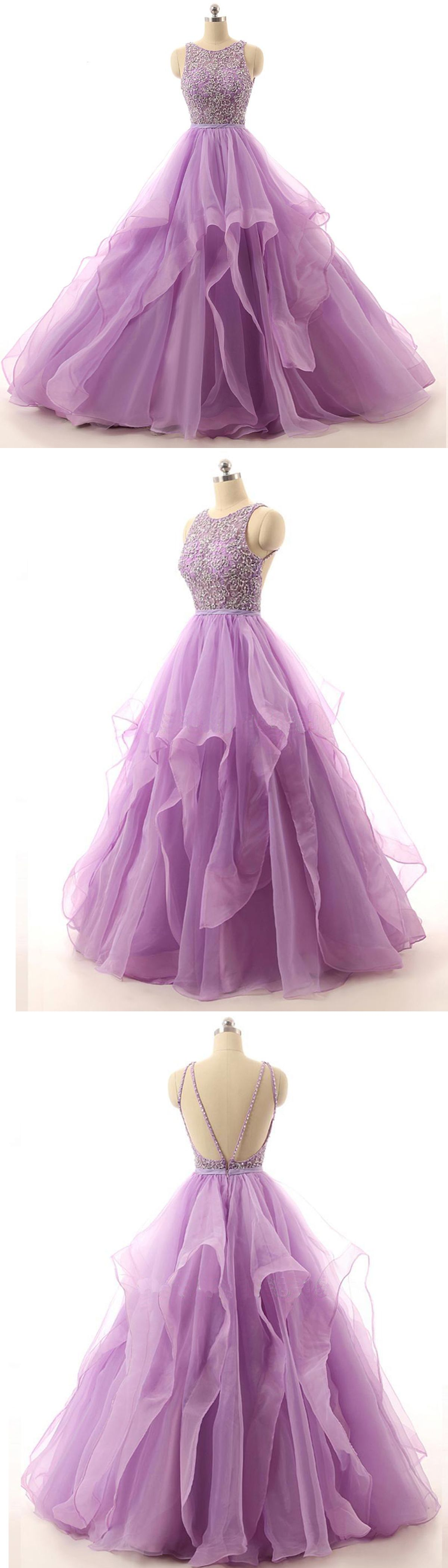 Lilac organza puffy special occasion dress long beaded open back