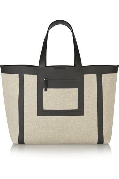 Victoria Beckham | Simple leather-trimmed linen-canvas tote | NET-A-PORTER.COM #accessories #victoriabeckham #women #designer #covetme