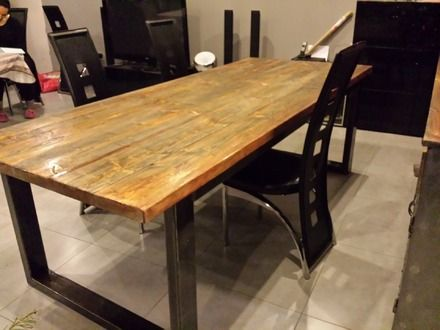 meuble industriel table de salle manger pied en acier plateau en sapin massif vieilli - Pied De Table En Bois Massif